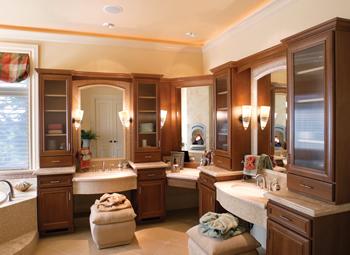 Design build process remodeling renovation for L shaped master bathroom layout